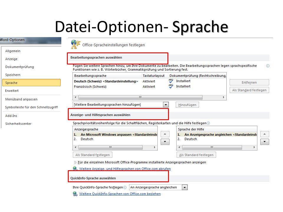 Datei-Optionen- Sprache