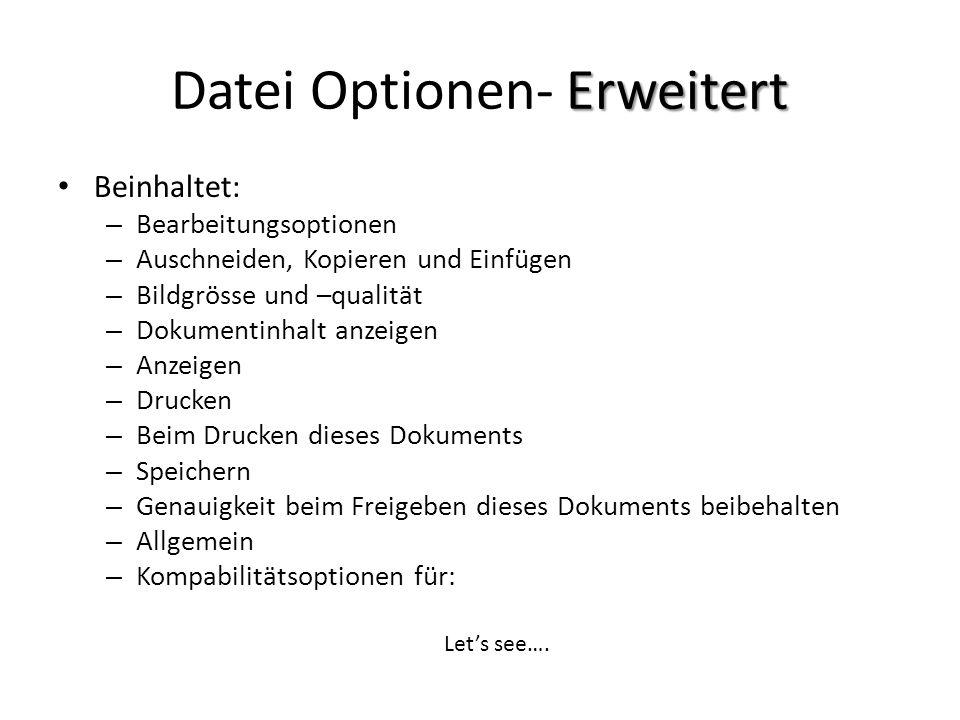 Datei Optionen- Erweitert