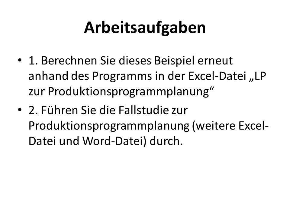 """Arbeitsaufgaben 1. Berechnen Sie dieses Beispiel erneut anhand des Programms in der Excel-Datei """"LP zur Produktionsprogrammplanung"""