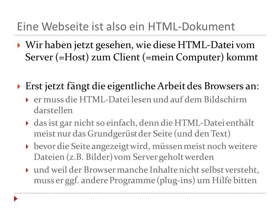 Eine Webseite ist also ein HTML-Dokument