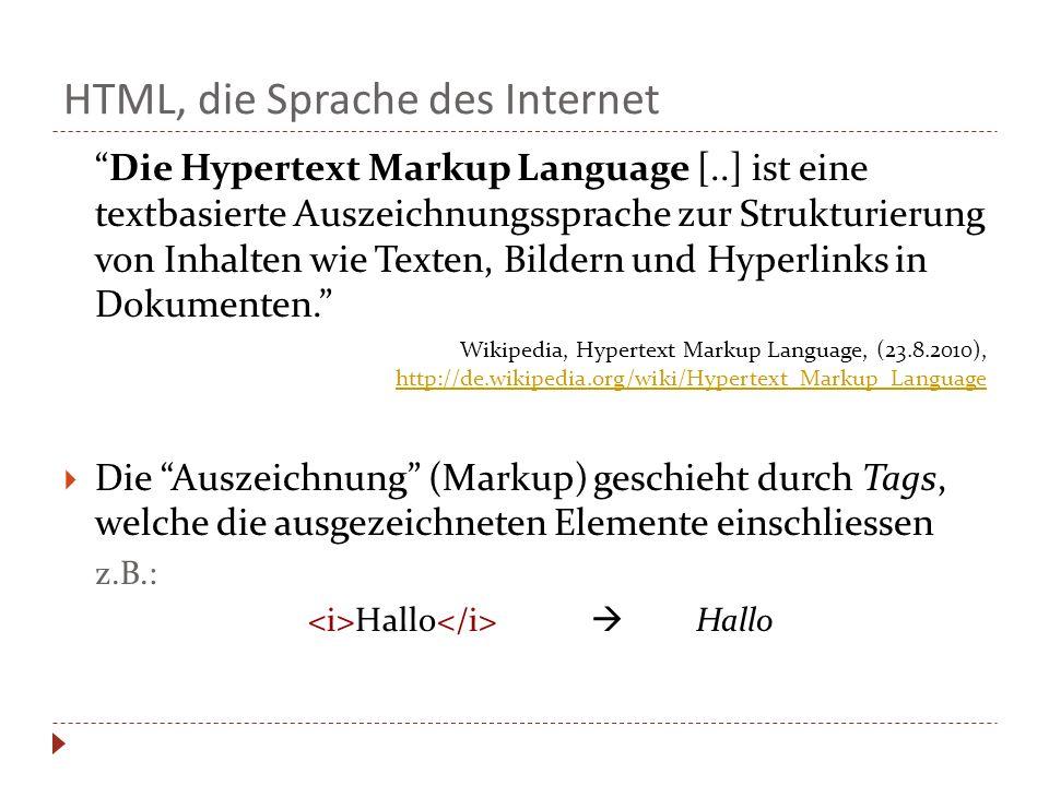 HTML, die Sprache des Internet