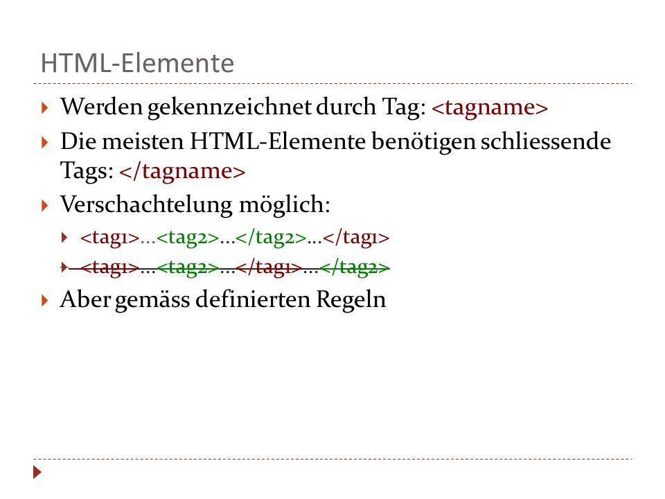 HTML-Elemente Werden gekennzeichnet durch Tag: <tagname>