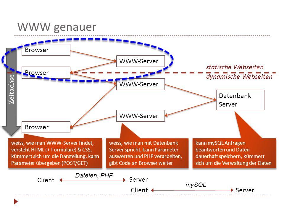 WWW genauer Browser WWW-Server Zeitachse statische Webseiten Browser