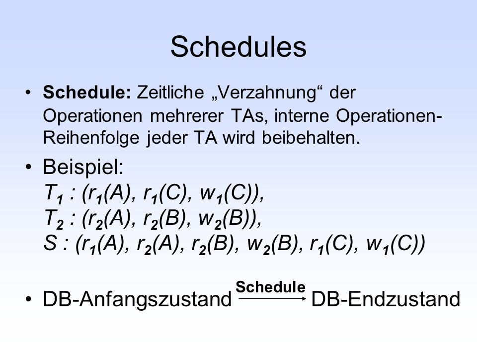 """Schedules Schedule: Zeitliche """"Verzahnung der Operationen mehrerer TAs, interne Operationen-Reihenfolge jeder TA wird beibehalten."""