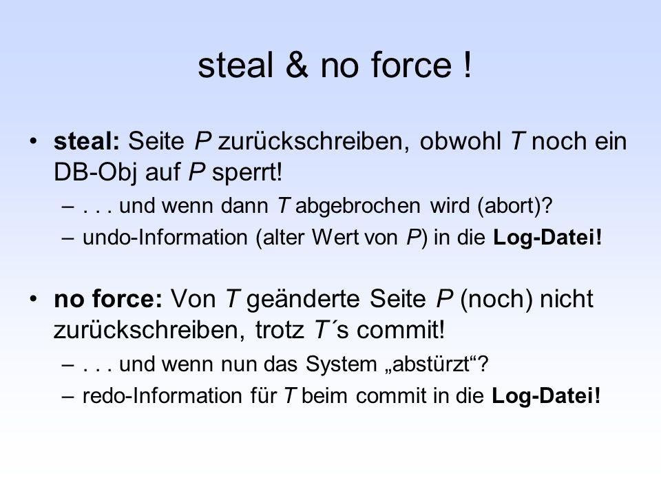 steal & no force ! steal: Seite P zurückschreiben, obwohl T noch ein DB-Obj auf P sperrt! . . . und wenn dann T abgebrochen wird (abort)