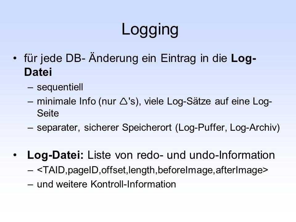 Logging für jede DB- Änderung ein Eintrag in die Log-Datei