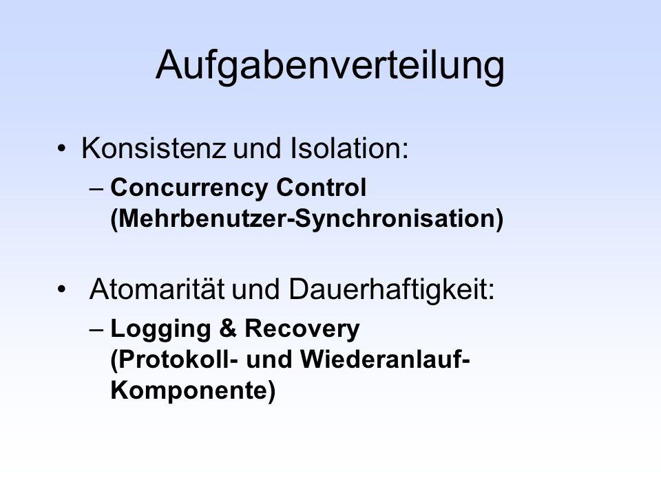 Aufgabenverteilung Konsistenz und Isolation: