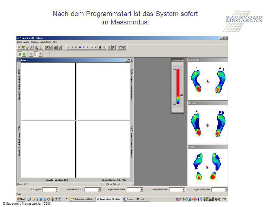 Nach dem Programmstart ist das System sofort im Messmodus: