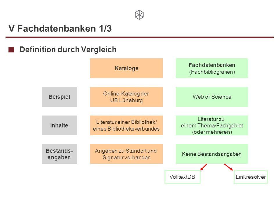 V Fachdatenbanken 1/3 Definition durch Vergleich Kataloge