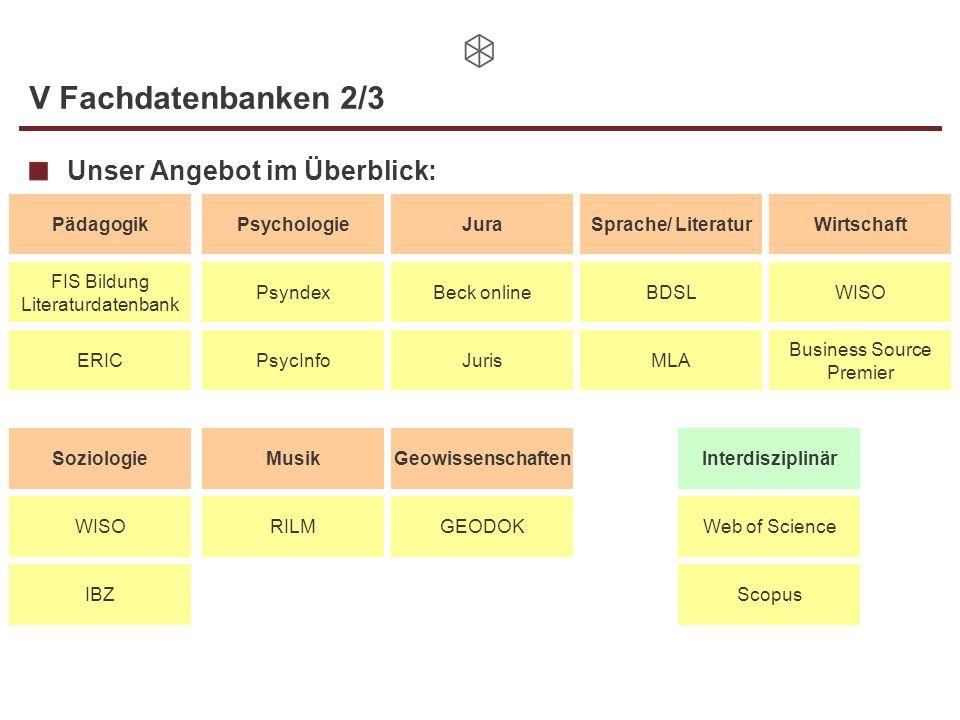 V Fachdatenbanken 2/3 Unser Angebot im Überblick: Pädagogik Jura