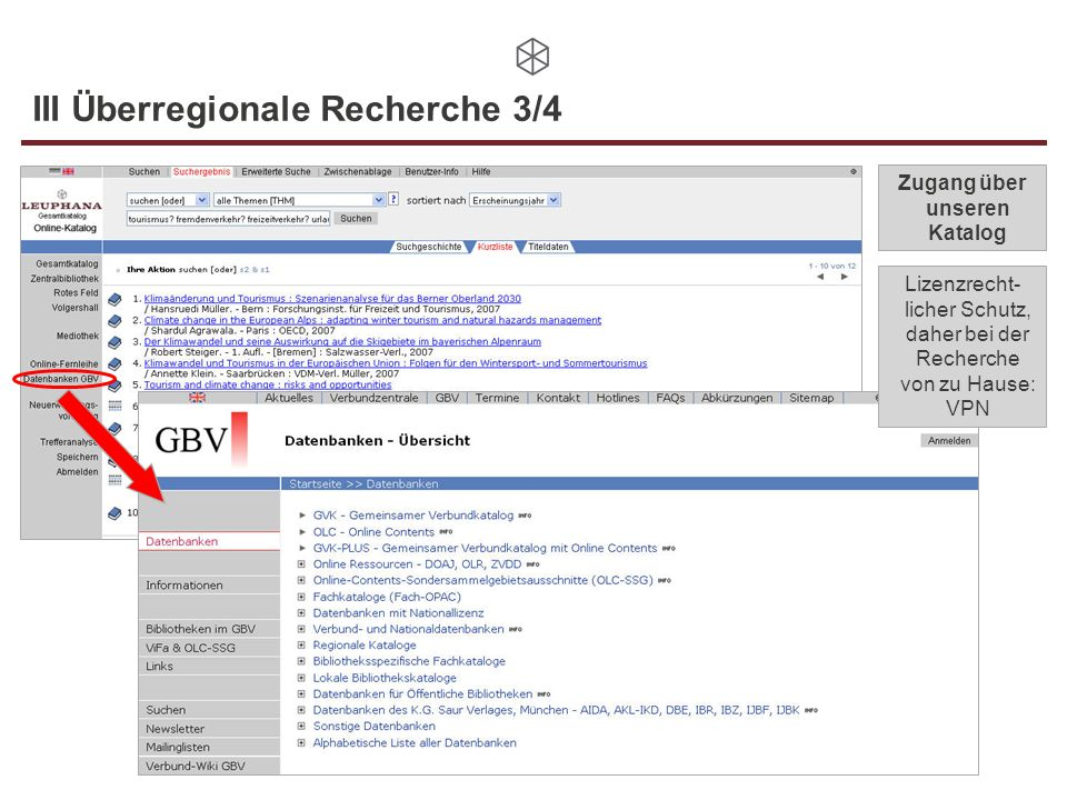 III Überregionale Recherche 3/4
