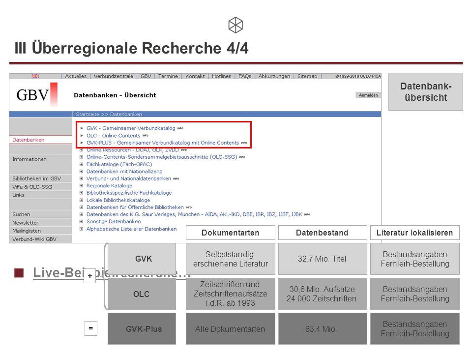 III Überregionale Recherche 4/4