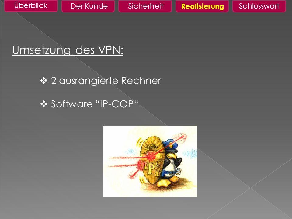 Umsetzung des VPN: 2 ausrangierte Rechner Software IP-COP Überblick