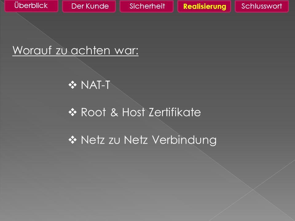 Root & Host Zertifikate Netz zu Netz Verbindung
