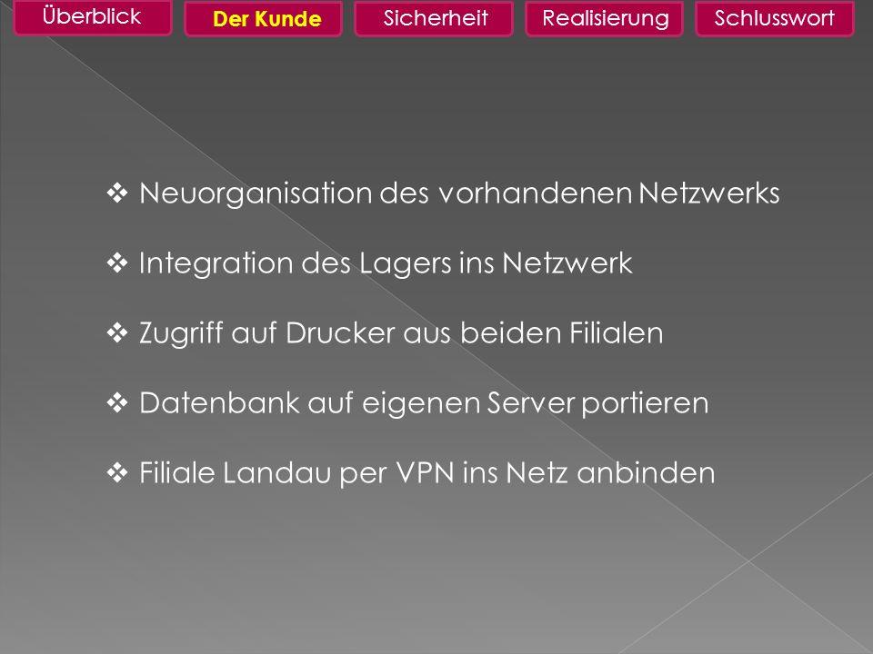Neuorganisation des vorhandenen Netzwerks