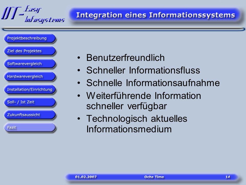 Benutzerfreundlich Schneller Informationsfluss. Schnelle Informationsaufnahme. Weiterführende Information schneller verfügbar.