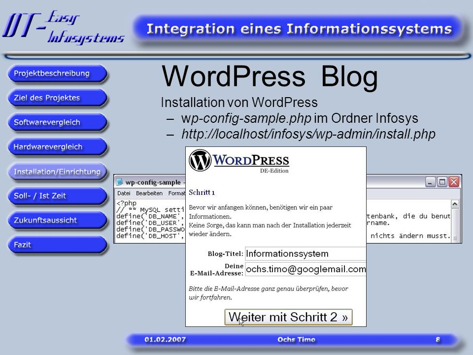 WordPress Blog Installation von WordPress