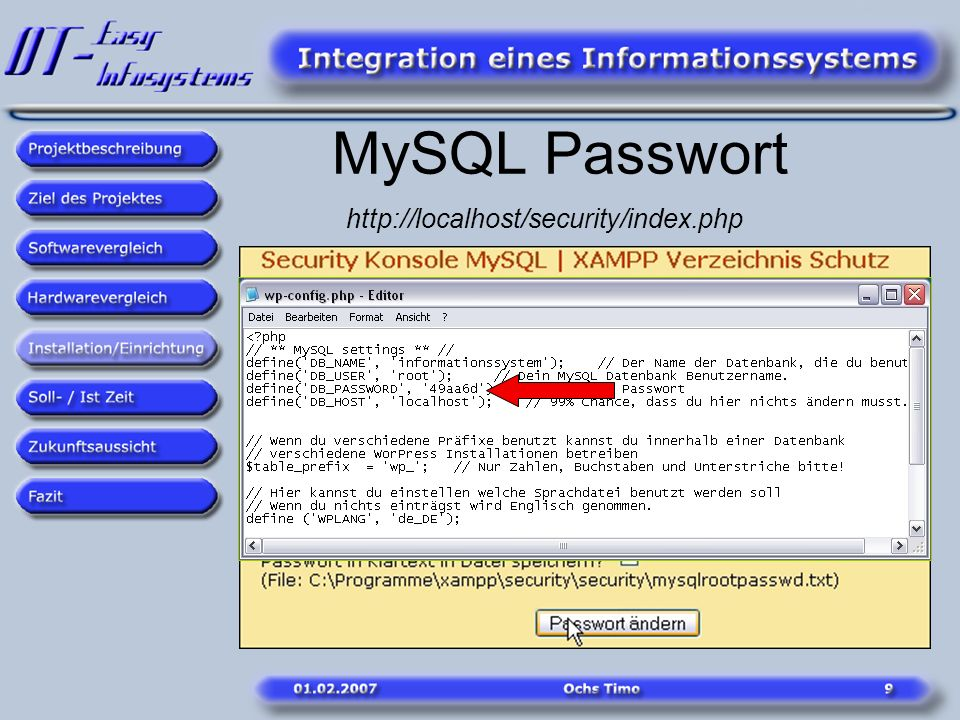 MySQL Passwort http://localhost/security/index.php