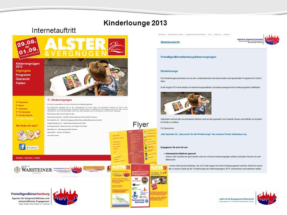 Kinderlounge 2013 Internetauftritt Flyer