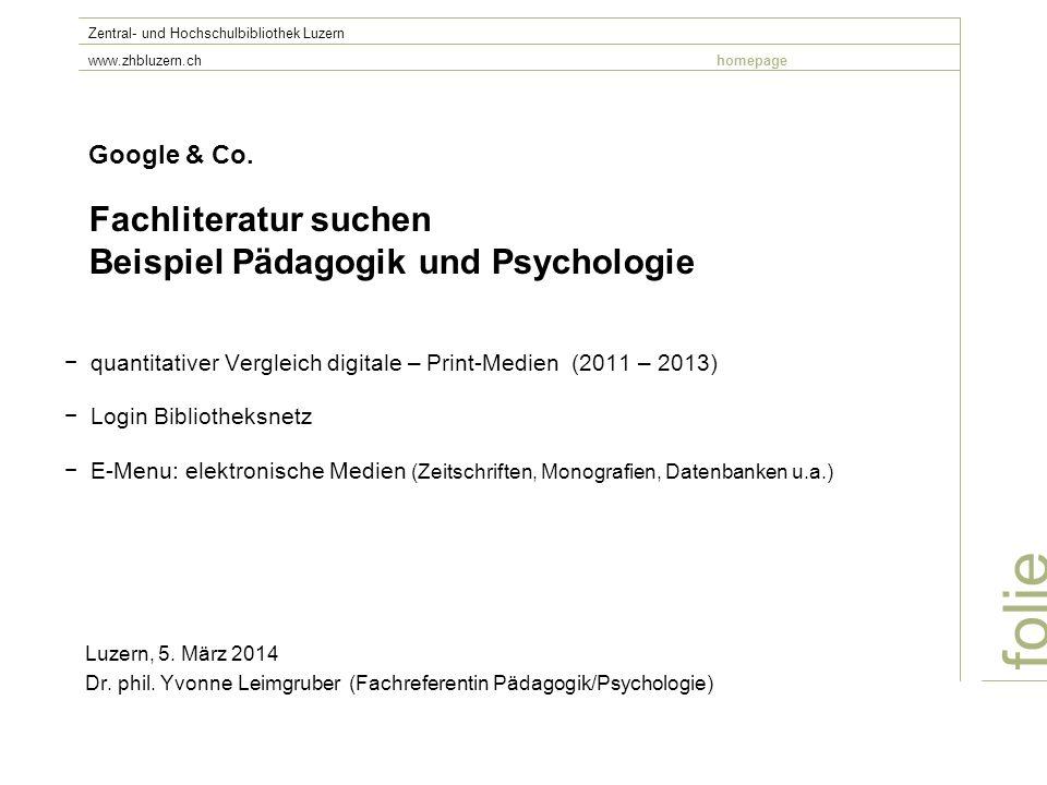 Google & Co. Fachliteratur suchen Beispiel Pädagogik und Psychologie