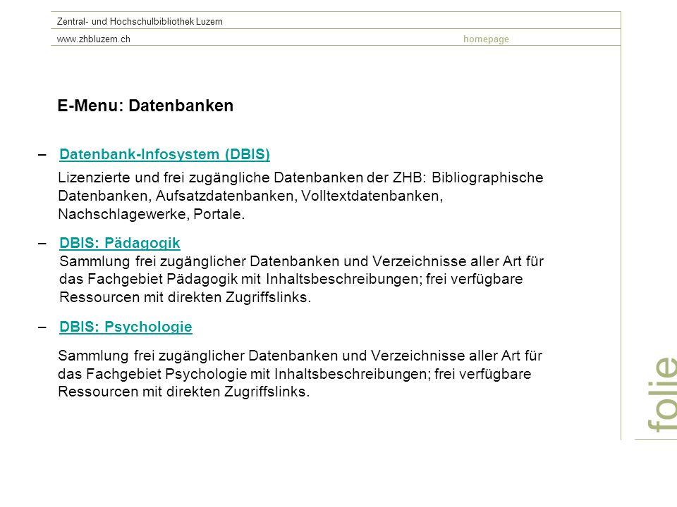 folie E-Menu: Datenbanken Datenbank-Infosystem (DBIS)