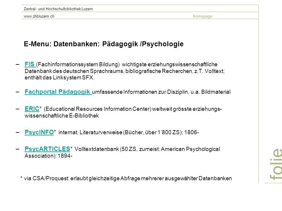 E-Menu: Datenbanken: Pädagogik /Psychologie