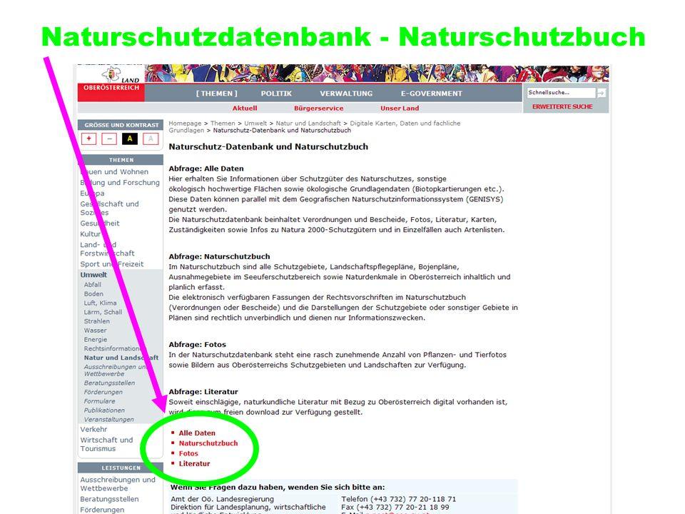 Naturschutzdatenbank - Naturschutzbuch