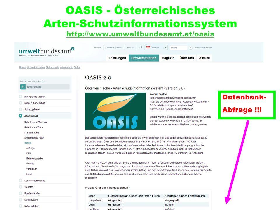 OASIS - Österreichisches Arten-Schutzinformationssystem http://www