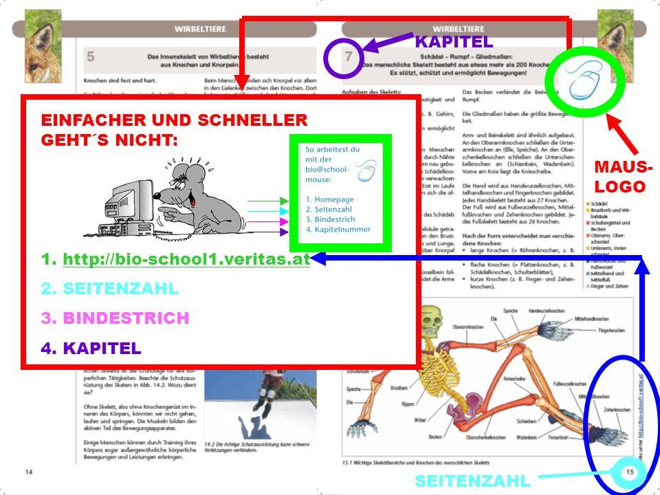 KAPITEL EINFACHER UND SCHNELLER GEHT´S NICHT: 1. http://bio-school1.veritas.at. 2. SEITENZAHL. 3. BINDESTRICH.