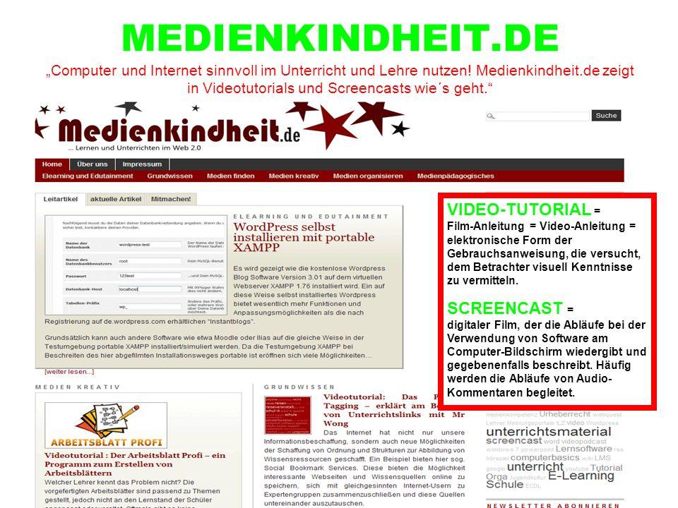 """MEDIENKINDHEIT.DE """"Computer und Internet sinnvoll im Unterricht und Lehre nutzen! Medienkindheit.de zeigt in Videotutorials und Screencasts wie´s geht."""