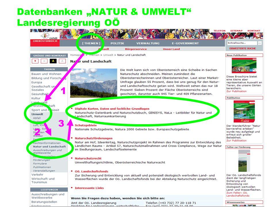"Datenbanken ""NATUR & UMWELT Landesregierung OÖ"