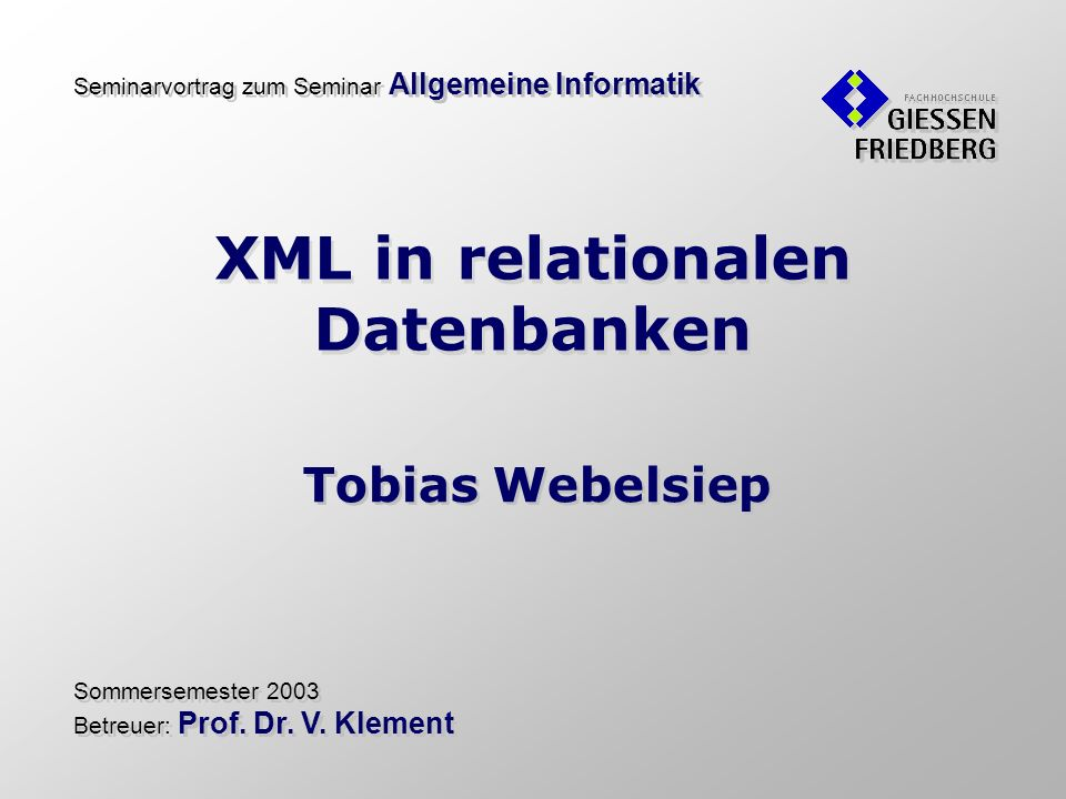 XML in relationalen Datenbanken