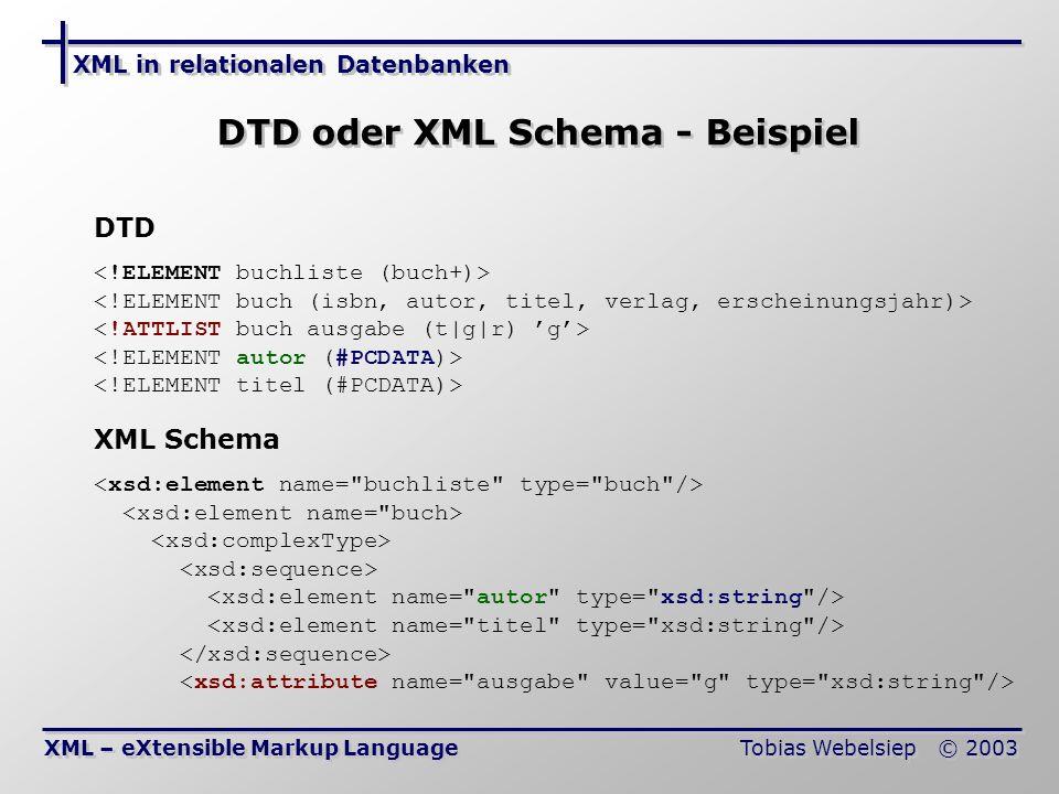 DTD oder XML Schema - Beispiel