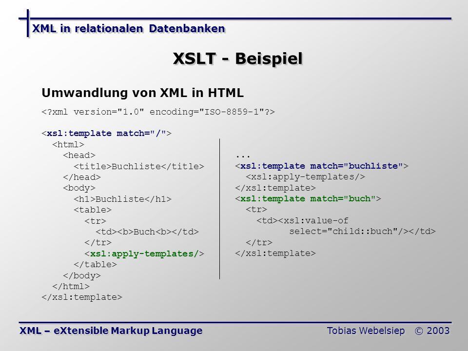XSLT - Beispiel Umwandlung von XML in HTML