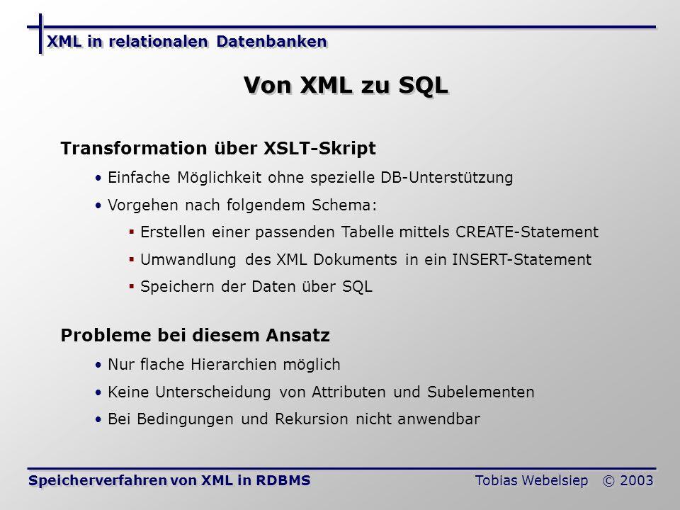 Von XML zu SQL Transformation über XSLT-Skript
