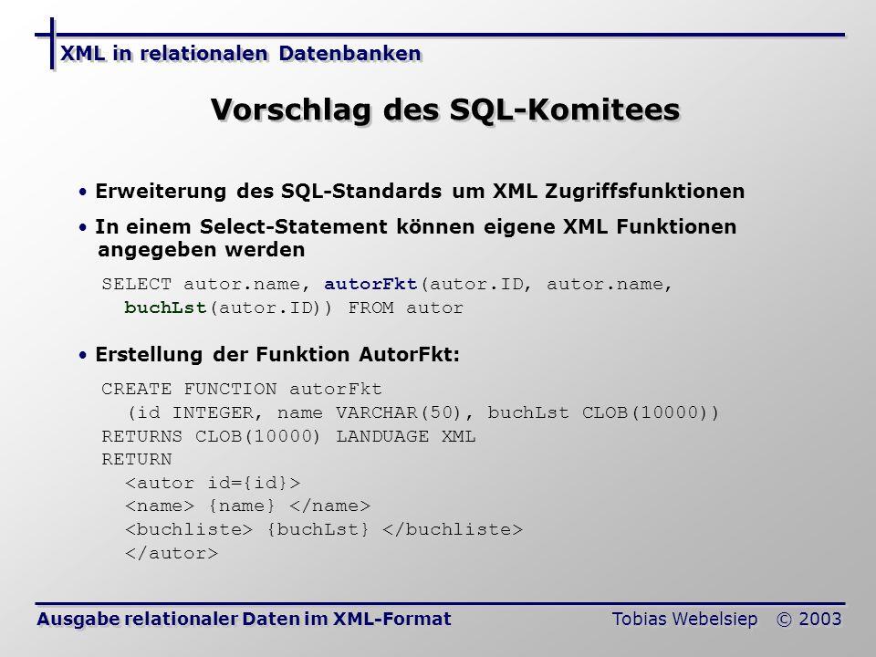 Vorschlag des SQL-Komitees