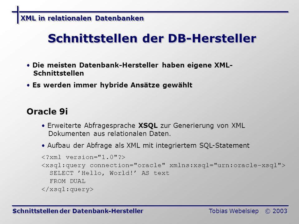 Schnittstellen der DB-Hersteller