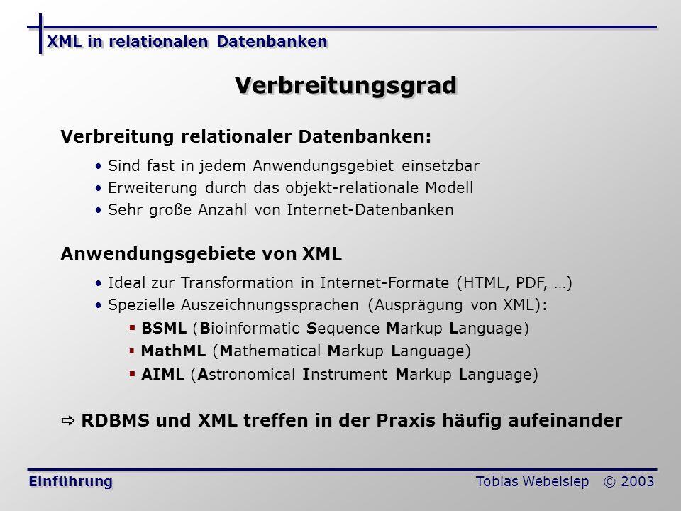 Verbreitungsgrad Verbreitung relationaler Datenbanken: