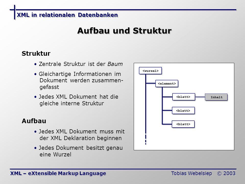 Aufbau und Struktur Struktur Aufbau XML in relationalen Datenbanken