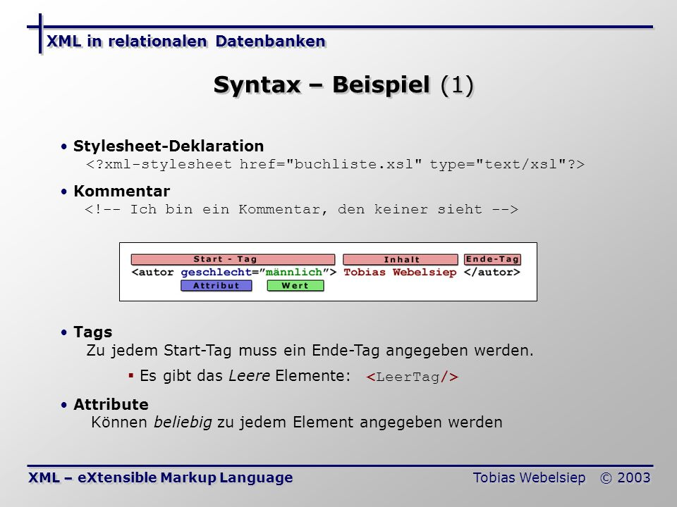 Syntax – Beispiel (1) XML in relationalen Datenbanken