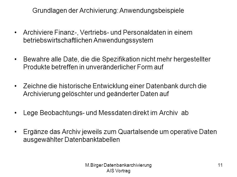 Grundlagen der Archivierung: Anwendungsbeispiele
