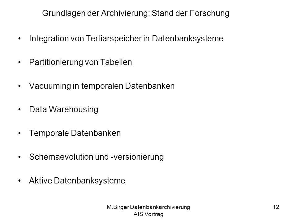 Grundlagen der Archivierung: Stand der Forschung