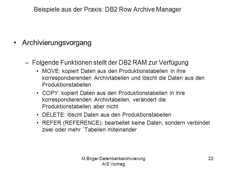Beispiele aus der Praxis: DB2 Row Archive Manager