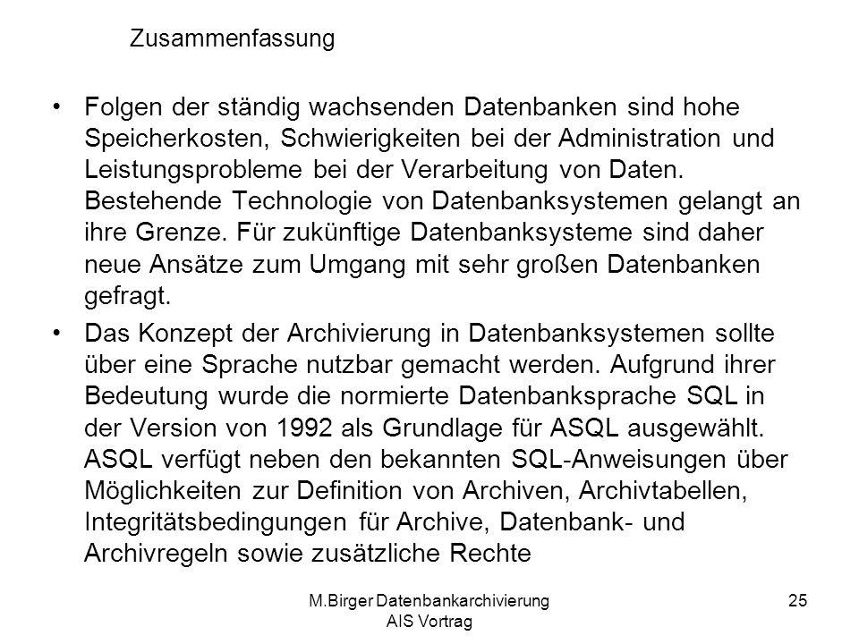 M.Birger Datenbankarchivierung AIS Vortrag