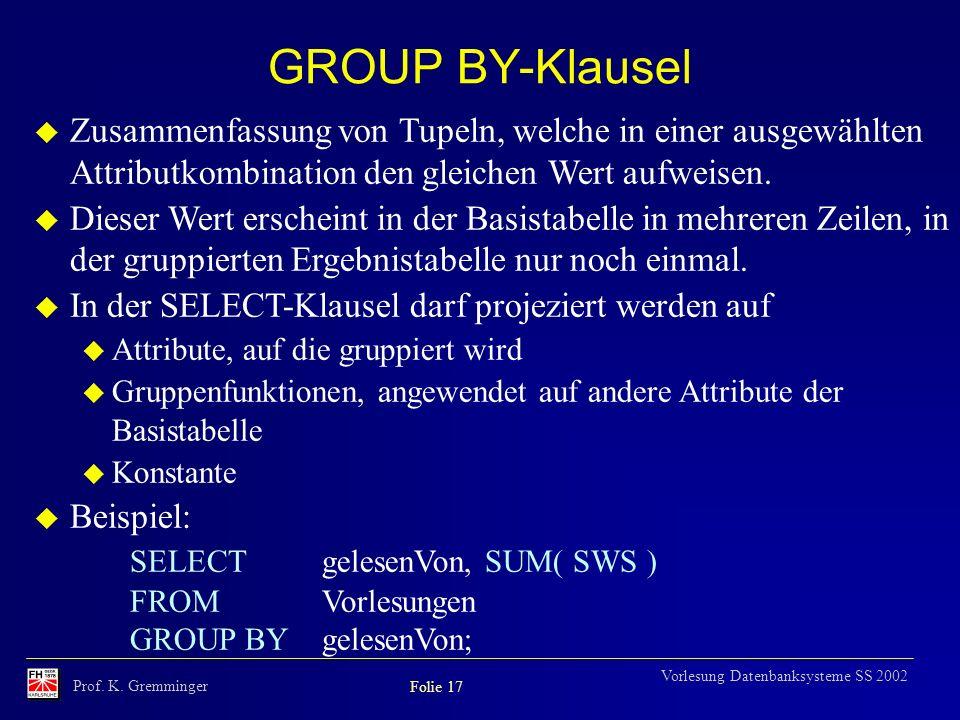 GROUP BY-Klausel Zusammenfassung von Tupeln, welche in einer ausgewählten Attributkombination den gleichen Wert aufweisen.