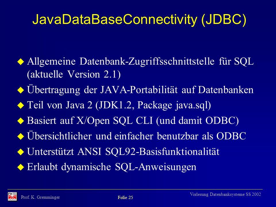 JavaDataBaseConnectivity (JDBC)