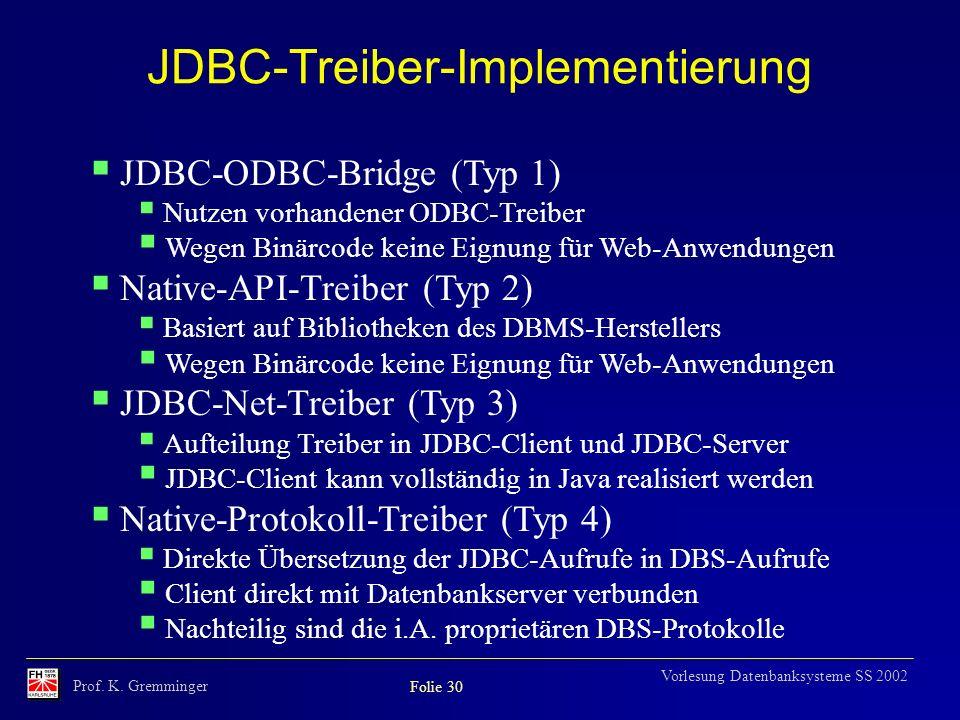 JDBC-Treiber-Implementierung