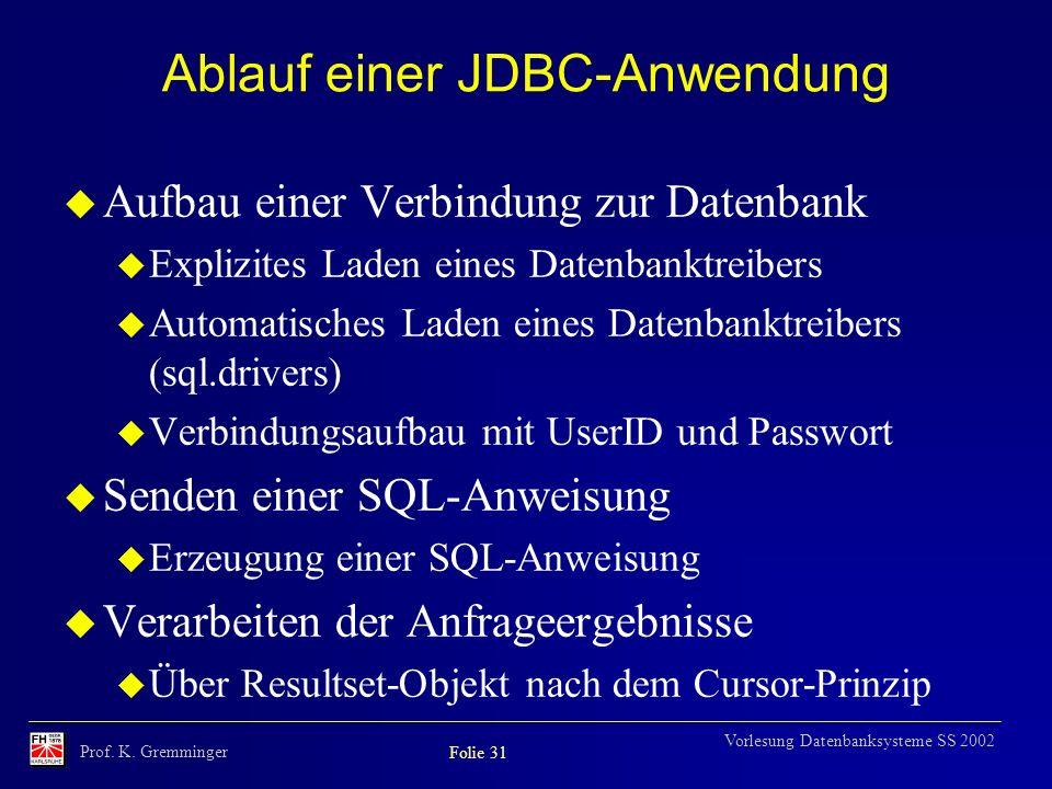 Ablauf einer JDBC-Anwendung