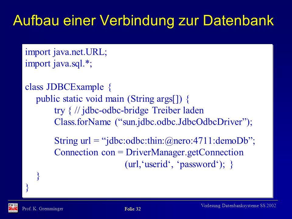 Aufbau einer Verbindung zur Datenbank