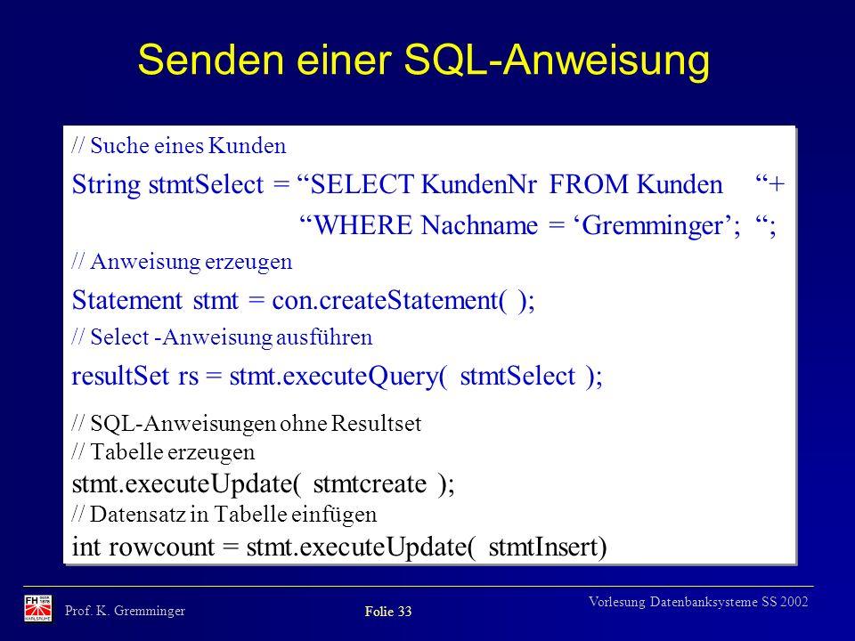 Senden einer SQL-Anweisung